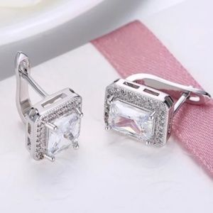 Square cubic zirconia earrings Brand new